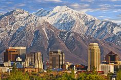 Salt Lake City Skyline by Douglas Pulsipher - excellent view of downtown with the Wasatch mountains in the background. Las Vegas, San Francisco, Real Estate Articles, Lake Photography, Salt Lake City Utah, Best Cities, Vacation Spots, Vacation Ideas, The Good Place