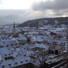 A view from Prague castle in the snow - Christmas 2014