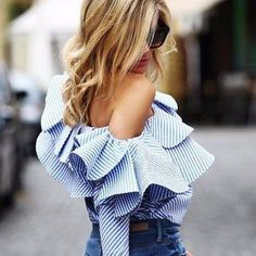 """You'll get so much wear out of thisTop; day and night!  Shop the """" Ruffled One Shoulder Top-Sky Blue"""" poshfashiongirls.com https://poshfashiongirls.com/collections/women-top/products/ruffled-one-shoulder-top-sky-blue?variant=37496477572"""