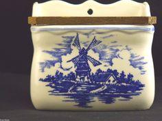 Delft Pottery Salt Box 4 in H Vintage Windmill Tulips | eBay
