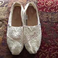 Toms lace/crochet shoes 9 NWOT NWOT, Never worn!! Size 9 TOMS Shoes Flats & Loafers
