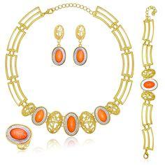 MOOCHI 18K Gold Plated Orange Beads Necklace Earrings Ring Bracelet Jewelry Set