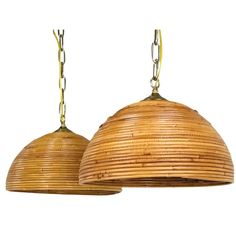 Pair of rattan dome pendants. Rattan domes are in good condition with new wiring. Dimensions: diameter x tall (to chain). Bamboo Furniture, Antique Furniture, Modern Furniture, Home Lighting, Pendant Lighting, Bamboo Pendant Light, Rattan, Fashion Art, Pendants