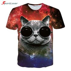 Space Galaxy Cat With Glasses T Shirt //Price: $20.00 & FREE Shipping //     #instagood