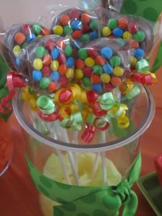 Oreo's dipped in chocolate with M's.. on a stick.. cute idea!  This would make  a great treat for the kids just use the Easter M & M's