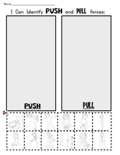 FORCE and MOTION: Push and Pull Picture Sort Workpage Science - Class of Kinders - TeachersPayTeachers.com