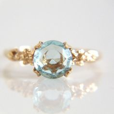 10k Gold Aquamarine Ring Size 5 1/2 by TheOpenSesame on Etsy, $140.00