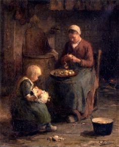 Evert Pieters (1856 – 1932, Dutch) Mother And Daughter