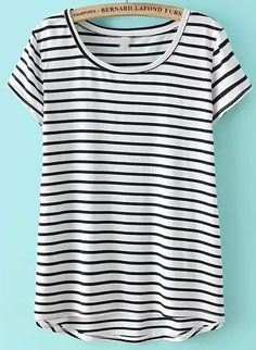 White Short Sleeve Striped Dip Hem T-Shirt , Perfect Outfits for You!