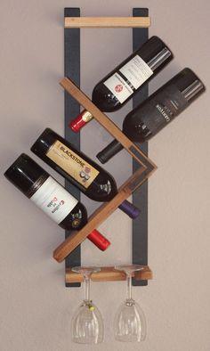 Wood Wine Rack - 4 Bottle 2 Glasses Handmade Wall Mount Display by AdliteCreations on Etsy https://www.etsy.com/listing/225362438/wood-wine-rack-4-bottle-2-glasses