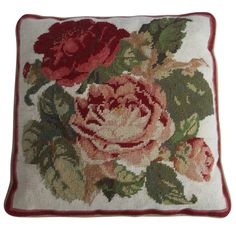 Needlepoint Pillow / Cushion, Roses , English, Mid 20th C. | 1stdibs.com