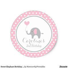 Sweet Elephant Birthday Sticker