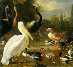 Melchior de Hondecoeter (1636-1695) Birds in a Park Oil on canvas 1680 144 x 159 cm (4 8.69 x 5 2.6)
