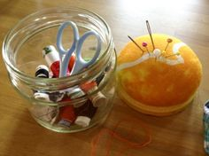 Nähutensilo aus Marmeladenglas