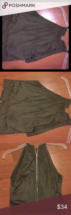 Material Girl spaghetti strap shirt. Olive green Material Girl shirt with zipper in the back. Material Girl Tops Tank Tops
