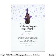 Shop Purple Bridal Shower Champagne Brunch Invite created by GoDesign. Brunch Invitations, Bridal Shower Invitations, Invites, Bridal Shower Party, Bridal Showers, Champagne Brunch, Brunch Wedding, Wedding Invitation Design, Purple
