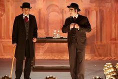 Crabtree (Jonny Harris) and Higgins (Lachlan Murdoch) - The would-be entertaining constables dodge vegetables tossed on stage as they try to perform. Jonny Harris, Detective Shows, Murdoch Mysteries, Mystery, Sketchs, Tossed, Moment, Place, Dodge