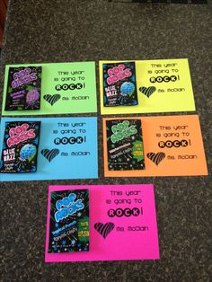 """Meet the Teacher night treat that I made for each student. """"This year is going to ROCK!"""" Goes perfectly with my RockStar themed classroom."""
