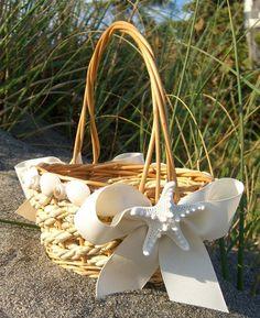 Beach wedding flower girl basket-seashells and starfish, weddings Beach Wedding Reception, Beach Wedding Flowers, Nautical Wedding, Beach Weddings, Dream Wedding, Wedding Day, Wedding Photos, Flower Girl Basket, Flower Girls