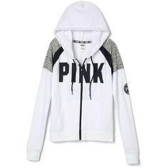 Hoodies and Sweatshirts - PINK ($50) ❤ liked on Polyvore featuring tops, hoodies, sweatshirts, zipper hoodie, zip hooded sweatshirt, zip hoodie sweatshirt, zip hoodie and victoria secret hoodie