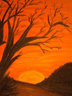 Entardecer, Lidiane Chaves,tinta acrílica sobre tela, 2012 , parte da 1º Galeria Pássaro
