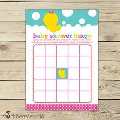 Girl Rubber Ducky  Baby Shower Printable Bingo Game - Instant Download via Etsy