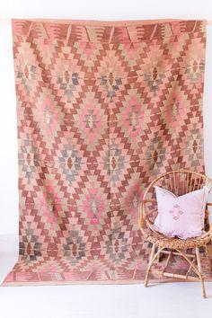 "Vintage Turkish Kilim Rug, ""The Gemma,"" Diamond Pattern, Pink Rug, Faded Pastel Rug, Geometric Pattern Rug, Bohemian Rug, Boho Rug, Kids Rug by LoomAndField on Etsy https://www.etsy.com/ca/listing/293697661/vintage-turkish-kilim-rug-the-gemma"