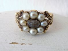 Vintage Victorian Mourning Ring with Seed Pearls by RiordanStudio