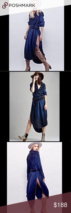 """Free People Denim Herringbone Maxi Belted Dress S Free People Denim Indigo Herringbone Maxi Belted Tunic Shirt Dress super soft heavy weight & drapy indigo maxi with a subtle herringbone pattern subtle blue / black ombre detail * removable 3"""" quilted double wrap belt  exaggerated side vents * 5 button placket * pullover styling New Without Tags  *  Size:   Small  55% linen * 45% rayon  measures: 46'' around bust 44"""" around waist 47"""" long in front 53"""" long in back Free People Dresses Maxi"""