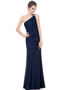 Amazon.com: Ever Pretty Womens Stretchy Single Shoulder Prom Gown Evening Dress 09463: Clothing - Navy Blue
