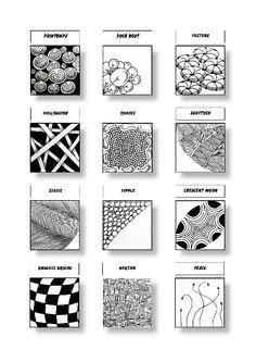 Zentangle Patterns Sheet 2: Patterns: Printemps, Poke Root, Festune, Hollibaugh, Ennies, Shattuck, Static, Tipple, Crescent Moon, Knights Bridge, Nekton, Fescu