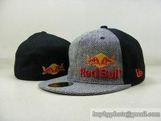 Red Bull 59Fifty Fitted Hats Racing Cap Redbull Hats Heather Grey  Black 8c161b4ddd9b