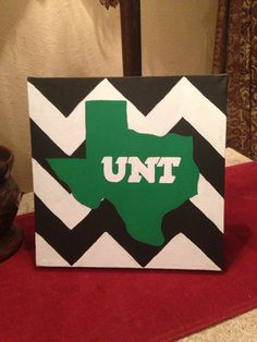 University of North Texas Chevron Hand-Painted Canvas on Etsy, $30.00