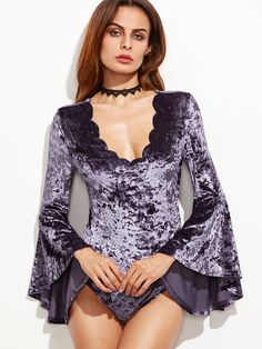 e8574004d1a Purple Bell Sleeve Scallop V Neck Velvet Bodysuit