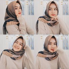 Image may contain: 4 people, closeup Casual Hijab Outfit, Hijab Chic, Casual Outfits, Fashion Outfits, Ootd Poses, Selfie Poses, Selfie Ideas, Modern Hijab Fashion, Girl Hijab