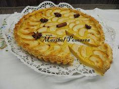 Tarta de manzana con base de hojaldre y crema pastelera