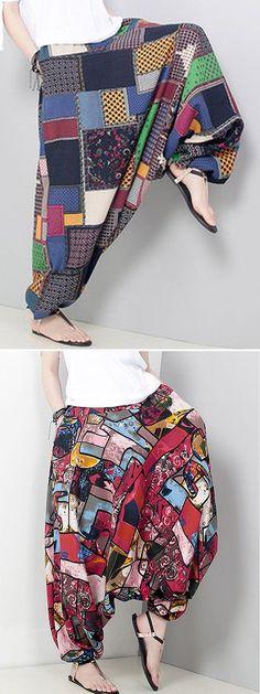 US$ 21.85 O-NEWE Printed Elastic Waist Pocket Harem Pants For Women