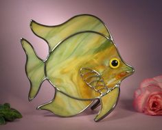Angel Fish with a Smile  304 by StainedGlassbyWalter on Etsy, $29.95
