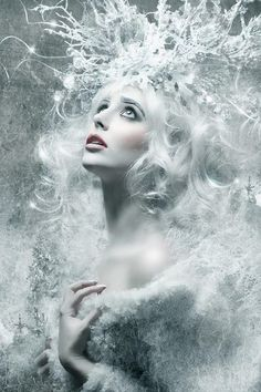 Weddbook is a content discovery engine mostly specialized on wedding concept. You can collect images, videos or articles you discovered  organize them, add your own ideas to your collections and share with other people - Snow queen surreal fantasy white frost photo portrait photography
