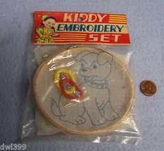 """Vintage dime store """"kiddy embroidery set"""" - japan - 1960's"""