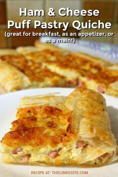 This is THE BEST recipe for a delicious Ham & Cheese Puff Pastry Quiche! It is s… This is THE BEST recipe for a delicious Ham & Cheese Puff Pastry Quiche! It is so versatile that it can be made… Continue Reading → Brunch Recipes, Appetizer Recipes, Appetizer Dinner, Breakfast Dishes, Breakfast Recipes, Breakfast Appetizers, Puff Pastry Quiche, Breakfast Puff Pastry, Ham And Cheese Quiche