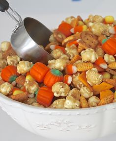 You know fall has finally arrived when the candy corn and candy pumpkins hit the stores. Fall can't get here fast enough for me and even though it's 90-plus degrees today in East Texas, it's fall in my kitchen. I made a yummy sweet & salty fall snack mix for our family to munch on …