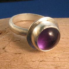Big amethyst cabochon ring silver -Professor Plum in the Library