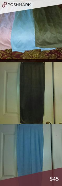 BUNDLE 3 FOR 1 Price NWT Micro Suede Pencil Skirts 1pink..1 baby blue and 1olive green pencil skirts ...brand new with tags still attached!! Split in the back...the brand is Windsor!! 5% spandex..fits your sexy curves....get all 3 for price of 1...hurry this is your black Friday special!! Will ship out today.... WINDSOR Skirts Pencil