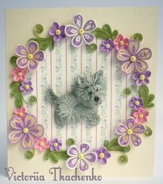 Quilling Card - Anniversary quilling Card - Love quilling card - Birthday quilling card - Cute West Highland Terrier - Lovely dog