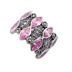 Sterling Silver, Pink CZ & Marcasite Ring • Sparkly Harlequin Ring in Sterling Silver • Marquise Pink Cubic Zirconia Ring • Size 8 by EncoreJewelryandGems on Etsy