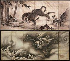 Dragon and Tiger, Doan (Yamada Yorikiyo), Japanese. ink on paper, around 1560 The Minneapolis Institute of Art Japanese Tiger Art, Ancient Japanese Art, Japanese Dragon, Tiger Dragon, Dragon Art, Japan Painting, Ink Painting, Ancient Symbols, Ancient Art