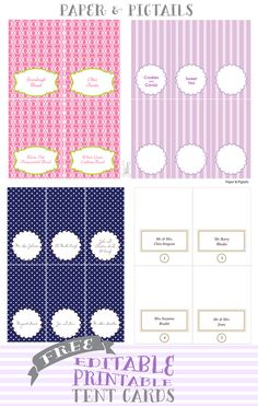 Paper & Pigtails Free Printable Tent Cards