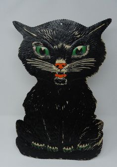 98de1e7f7dc Vintage Embossed Heavy Paper LARGE BLACK CAT Green Eyes Halloween  Decoration FOR SALE •  182.50 •