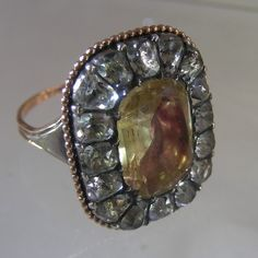 15 carat gold and rock crystal and citrine ring. Portuguese ca. 1780